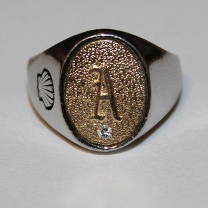 Men's ring sterling silver clear stone sz.9.75